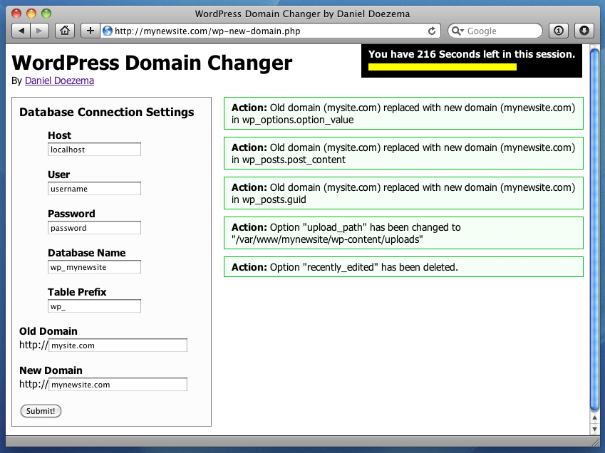 WordPress Domain Changer Screenshot